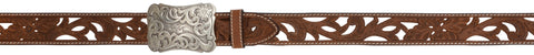 Angel Ranch Brown Filigree Leather Womens Belt Fashion 1.5in