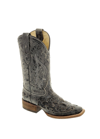 Corral Ladies Inlay Black Python/Cowhide Cowgirl Boots