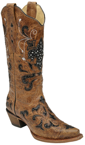 Corral Boots Womens Leather Fleur de Lis Sequence Tan Black Cowgirl