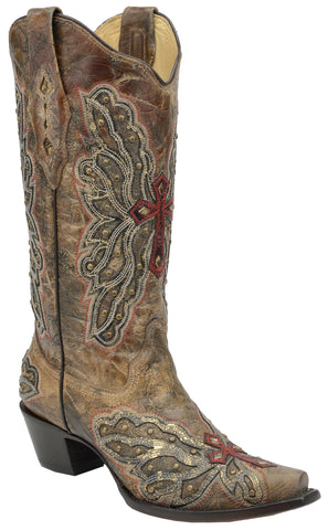 Corral Boots Womens Leather Wing & Cross Bronze Studs Cowgirl