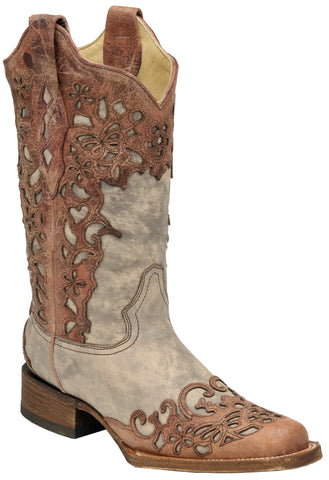 Corral Boots Womens Leather Laser Overlay Sand Cognac Cowgirl