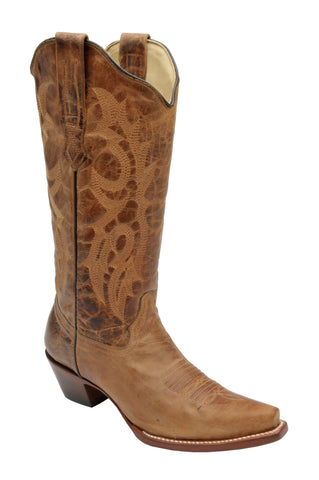 Corral Boots Womens Leather Waxy Brown Snip Toe Cowgirl