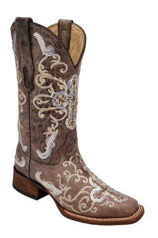 Corral Boots Womens Leather Sequence Cross Tobacco Square Toe Cowgirl