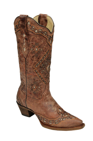 Corral Boots Womens Leather Glitter Inlay Cognac 13in Snip Toe Cowgirl