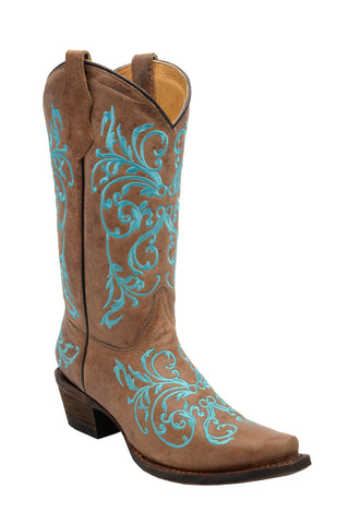 Corral Boots Kids Girl Leather Dahlia Embroidery Taupe Cowgirl