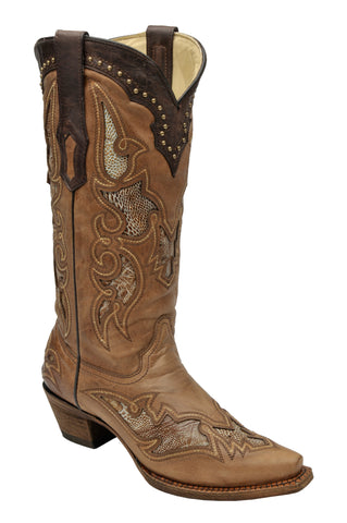 Corral Boots Womens Leather Ostrich Leg Inlay Antique Saddle Cowgirl