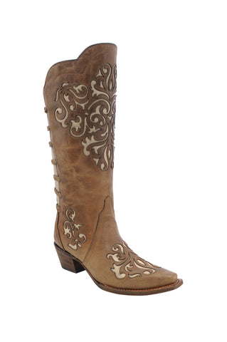Corral Ladies Inlay Brown Cowhide Leather Cowgirl Boots