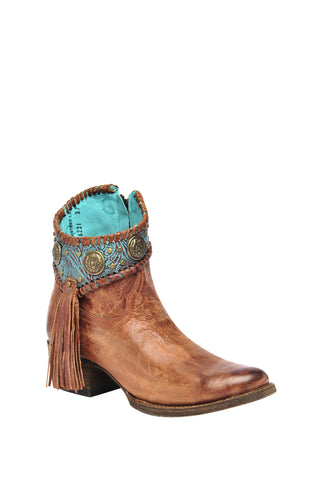 Corral Ladies Cognac Cowhide Leather Ankle Boots