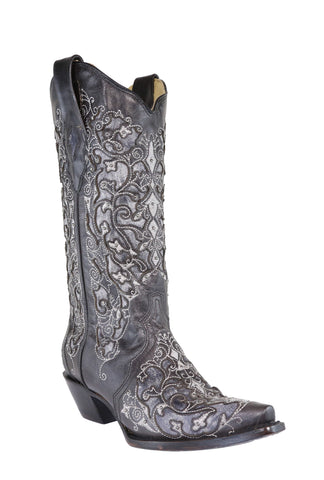 Corral Ladies Inlay Black Cowhide Leather Cowgirl Boots