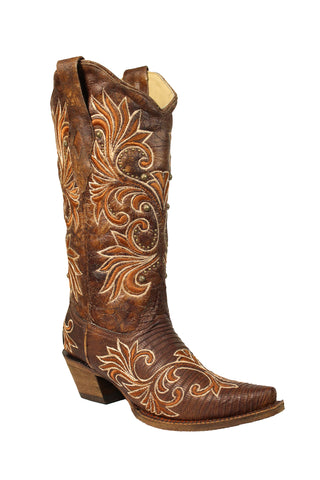 Corral Ladies Inlay Brown Lizard Teju Leather Cowgirl Boots