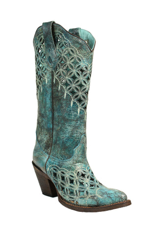Corral Ladies Embroidery Turquoise Cowhide Leather Cowgirl Boots