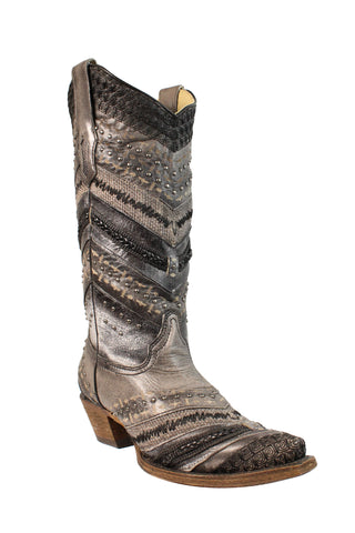 Corral Ladies Studs Grey Cowhide Leather Cowgirl Boots
