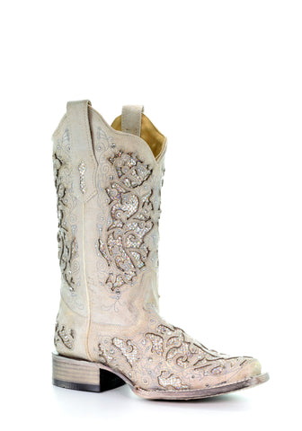 Corral Ladies Inlay White Cowhide Leather Cowgirl Boots