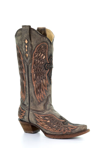 Corral Ladies Inlay Sand Cowhide Leather Cowgirl Boots