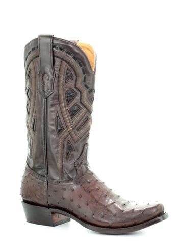 Corral Mens Inlay Chocolate Ostrich Leather Cowboy Boots