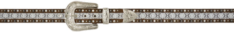 Angel Ranch Brown Distressed Leather Womens Belt Fashion 1.5in