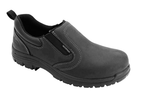 Avenger Mens Black Leather Comp Toe Slip-On Work Shoes