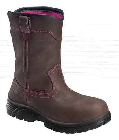 Avenger Womens Composite Toe EH WP Wellington W Brown Leather Boots