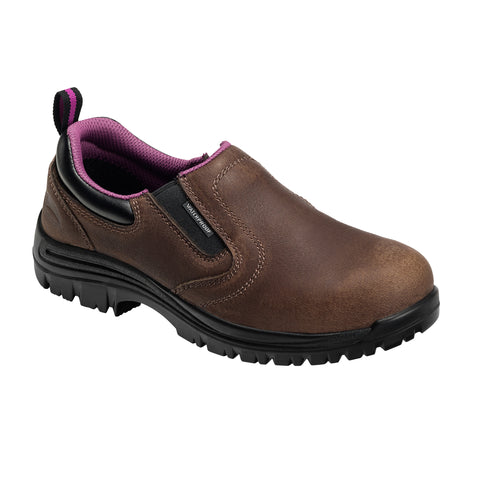 Avenger Womens Brown/Pink Leather Comp Toe WP EH SR Work Shoes