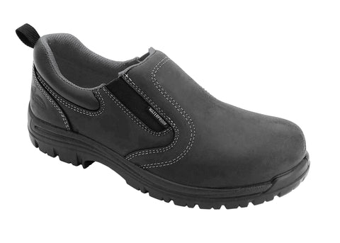 Avenger Womens Black Leather Comp Toe 7169 Slip-On Work Shoes