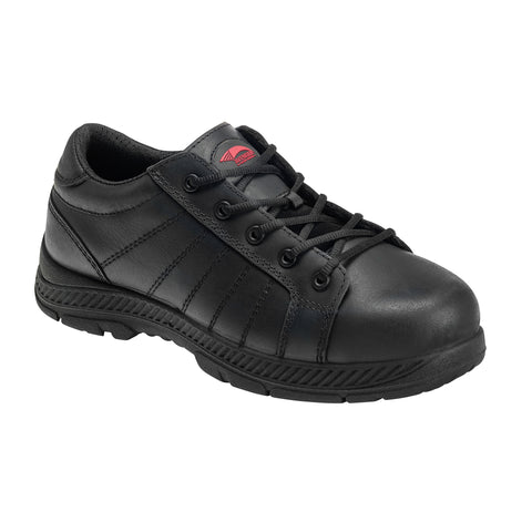 Avenger Mens Black Leather Steel Toe 7232 Oxford Work Shoes