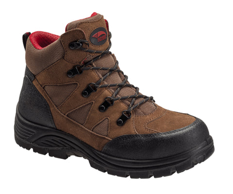 Avenger Mens Brown Leather Steel Toe 7242 Grid Work Boots