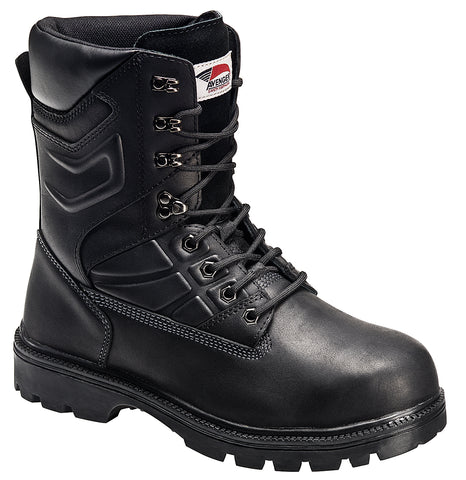 Avenger Mens Steel Toe EH Internal Met Guard Boot M Black Leather Boots