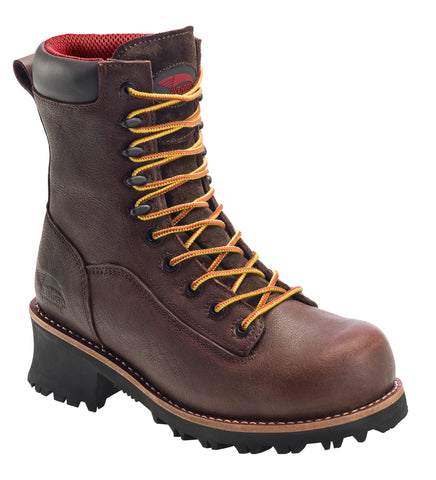 Avenger Mens Brown Leather Comp Toe 7356 8in Logger Work Boots