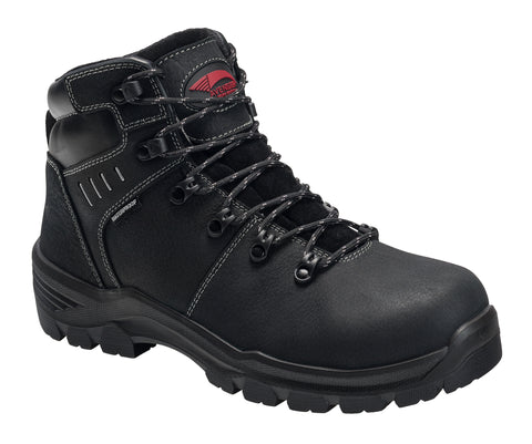 Avenger Mens Black Leather Comp Toe 7400 Foundation 6in Work Boots