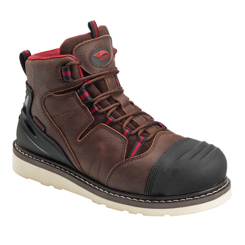 Avenger Mens Brown Leather Comp Toe 6in WP Wedge Work Boots