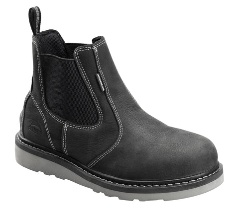 Avenger Mens Black Leather Soft Toe 7605 Pull-On Work Boots
