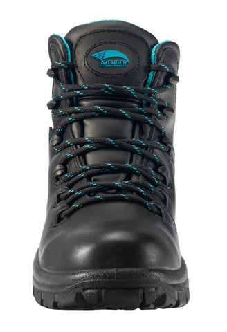 Avenger Womens Black Leather Soft Toe 6in WP EH Hiker Work Boots