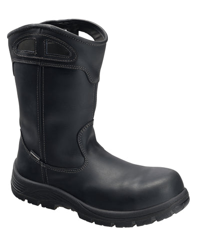 Avenger Mens Black Leather Comp Toe Framer Wellington Work Boots