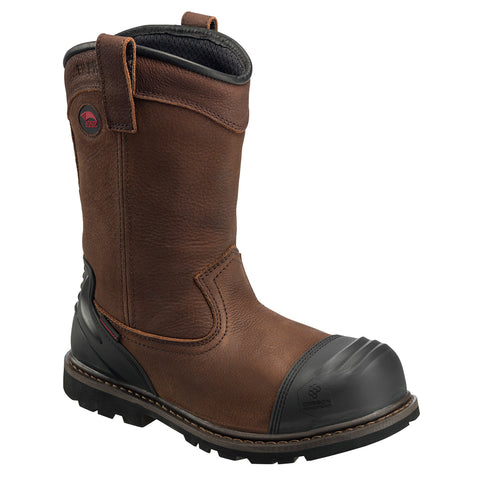 Avenger Mens Brown Leather Comp Toe 11in PR WP Wellington Work Boots