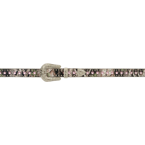 Angel Ranch Camo Leather Womens Belt Silver Studs Pink Crystals