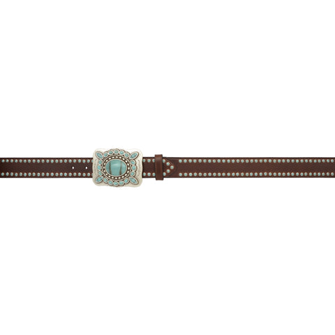 Angel Ranch Dark Brown Waxy Leather Womens Belt Turquoise Stones