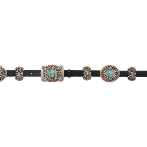 Angel Ranch Black Leather Womens Belt Red Turquoise Stones 1in