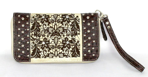 Savana Bone Faux Leather Ladies Bone Wallet Gator Print Rhinestone