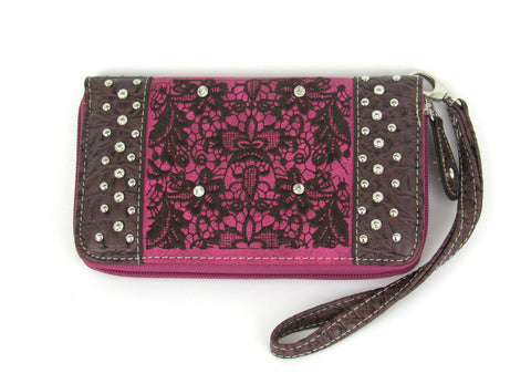 Savana Hot Pink Faux Leather Ladies Hot Pink Wallet Gator Print Stud