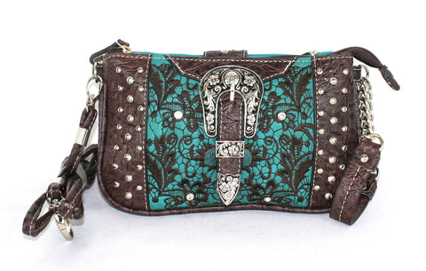 Savana Turquoise Faux Leather Ladies Turquoise Clutch Gator Buckle