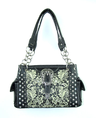 Savana Black Faux Leather Ladies Black Purse Gator Studded