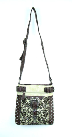 Savana Bone Faux Leather Ladies Bone Crossbody Gator Studded