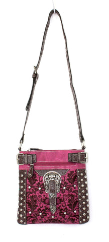 Savana Hot Pink Faux Leather Ladies Hot Pink Crossbody Gator Studded