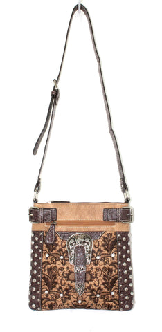 Savana Tan Faux Leather Ladies Tan Crossbody Gator Studded
