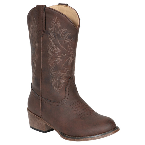 Lil Westerner Kids Boys Brown Faux Leather Western Cowboy Boots