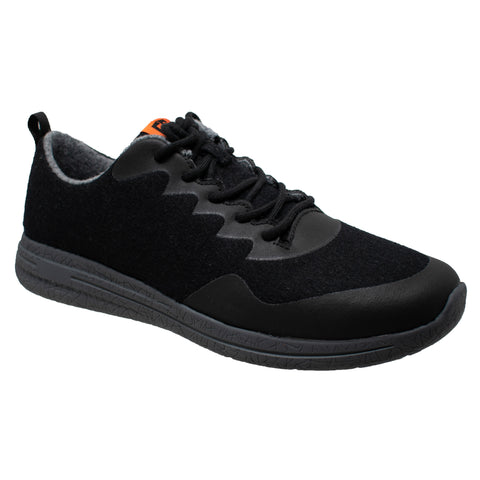 FreeShield Mens Black/Black Wool Athletic Sneaker Merino Wool