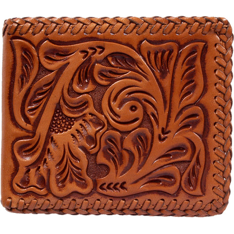 3D Natural Leather Unisex Bifold Wallet Western Tooled