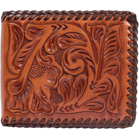 3D Natural Leather Unisex Bifold Wallet Western Tooled DK Brown