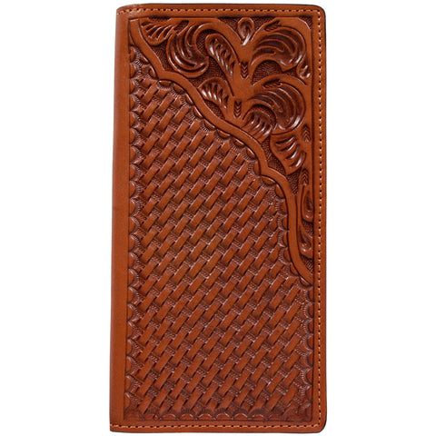 3D Natural Leather Unisex Bifold Rodeo Wallet Western Tooled