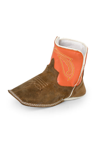 Anderson Bean Baby Boys Tan/Orange Leather Crazy Horse Cowboy Boots